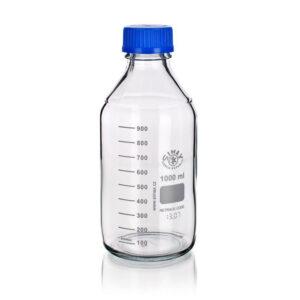 Veiligheidslabfles - nauwmonds glas blank - GL45 blauw