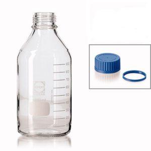 Labfles - glas blank - 5000 ML - GL45 blauw (DURAN)