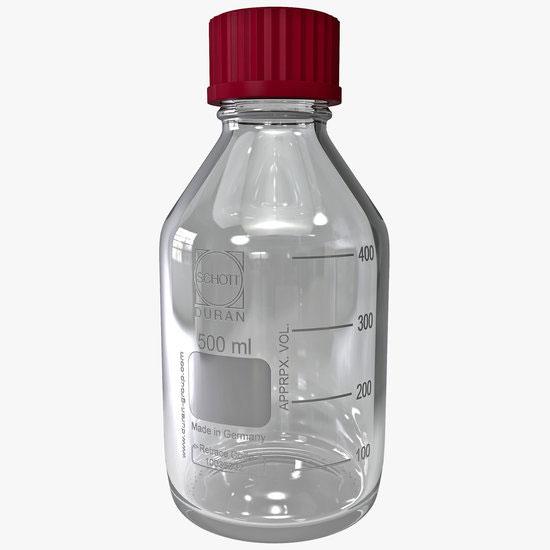 Labfles - glas blank - GL45 blauw (Simax)