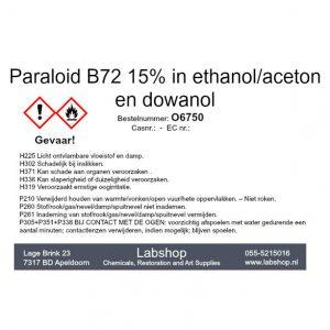 Paraloid B72 15% in ethanol/aceton en dowanol