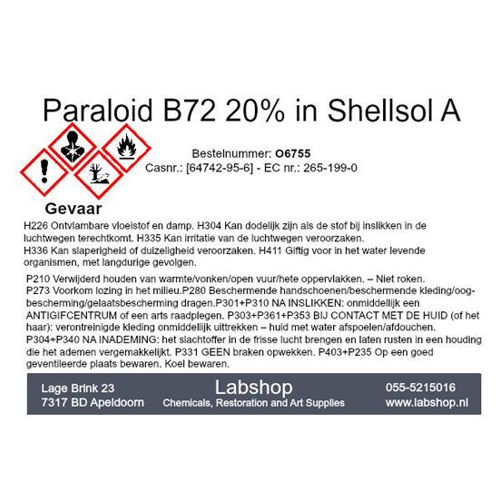 Paraloid B72 20% in Shellsol A